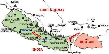 Light Forces Operations In India - Map of Darjeeling